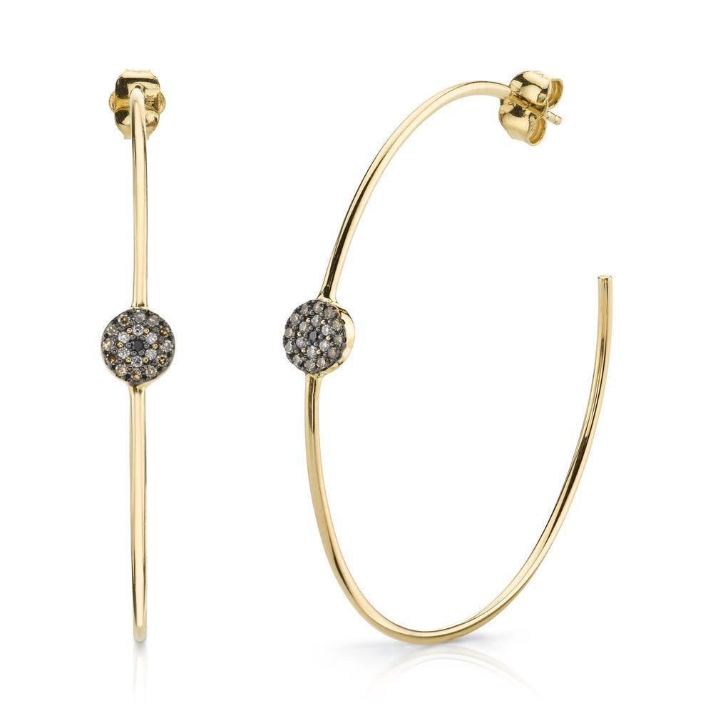 Sydney Evan 14k Yellow Gold Brown Black Diamond Pave Disc Hoop Earrings Gearys