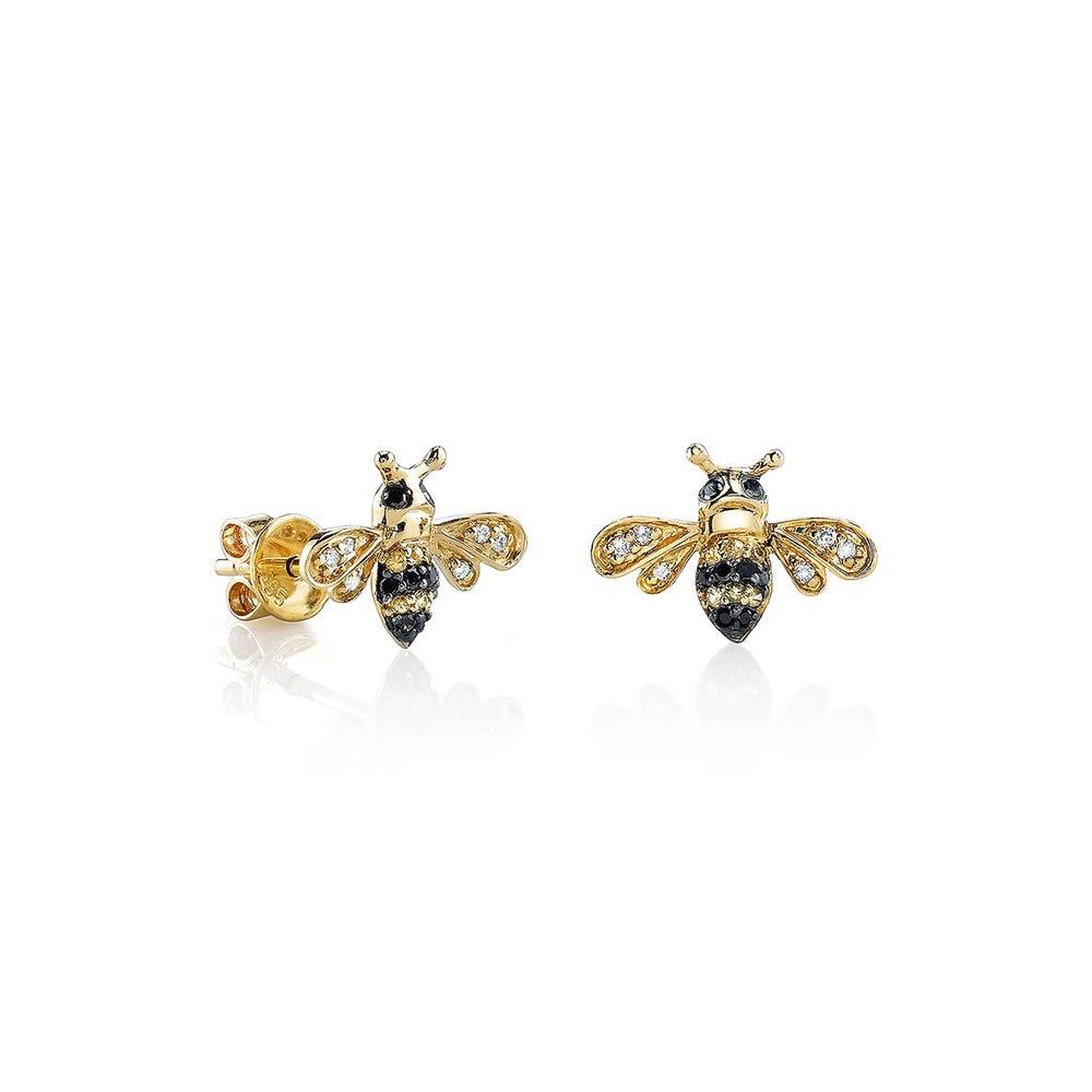 Sydney Evan 14k Yellow Gold Diamond Black Diamond And Yellow Sapphire Bee Stud Earrings Gearys