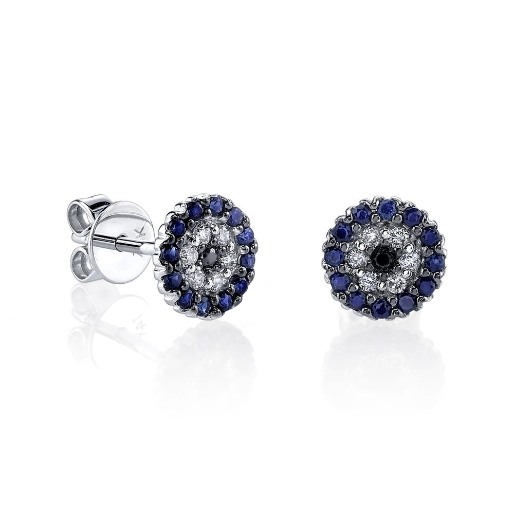 Sydney Evan 14k White Gold Pave Diamond Black Diamond And Sapphire Tiny Disc Stud Earrings Gearys