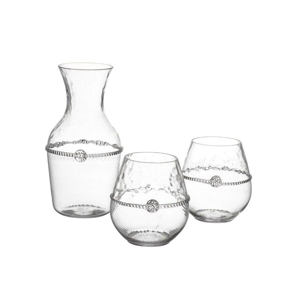 A Carafe That Is A Blind Glass graham carafe and two stemless red wine glasses
