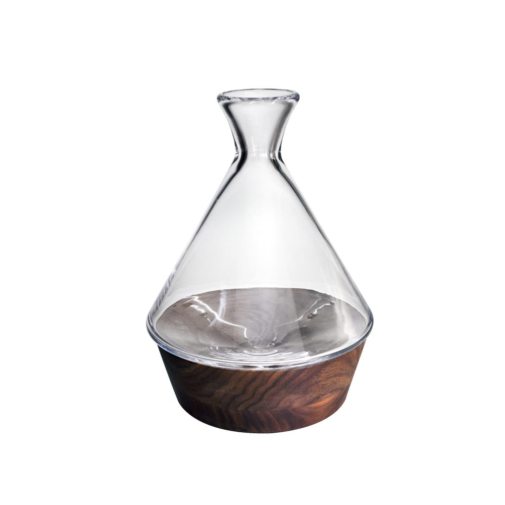 A Carafe That Is A Blind Glass ludlow carafe with wood base