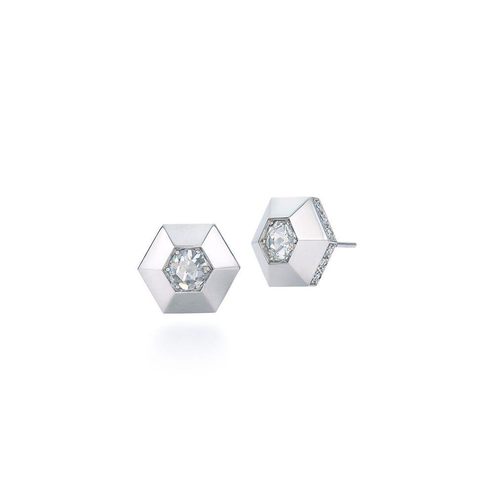 Fred Leighton Hexagonal Platinum Stud Earrings Gearys