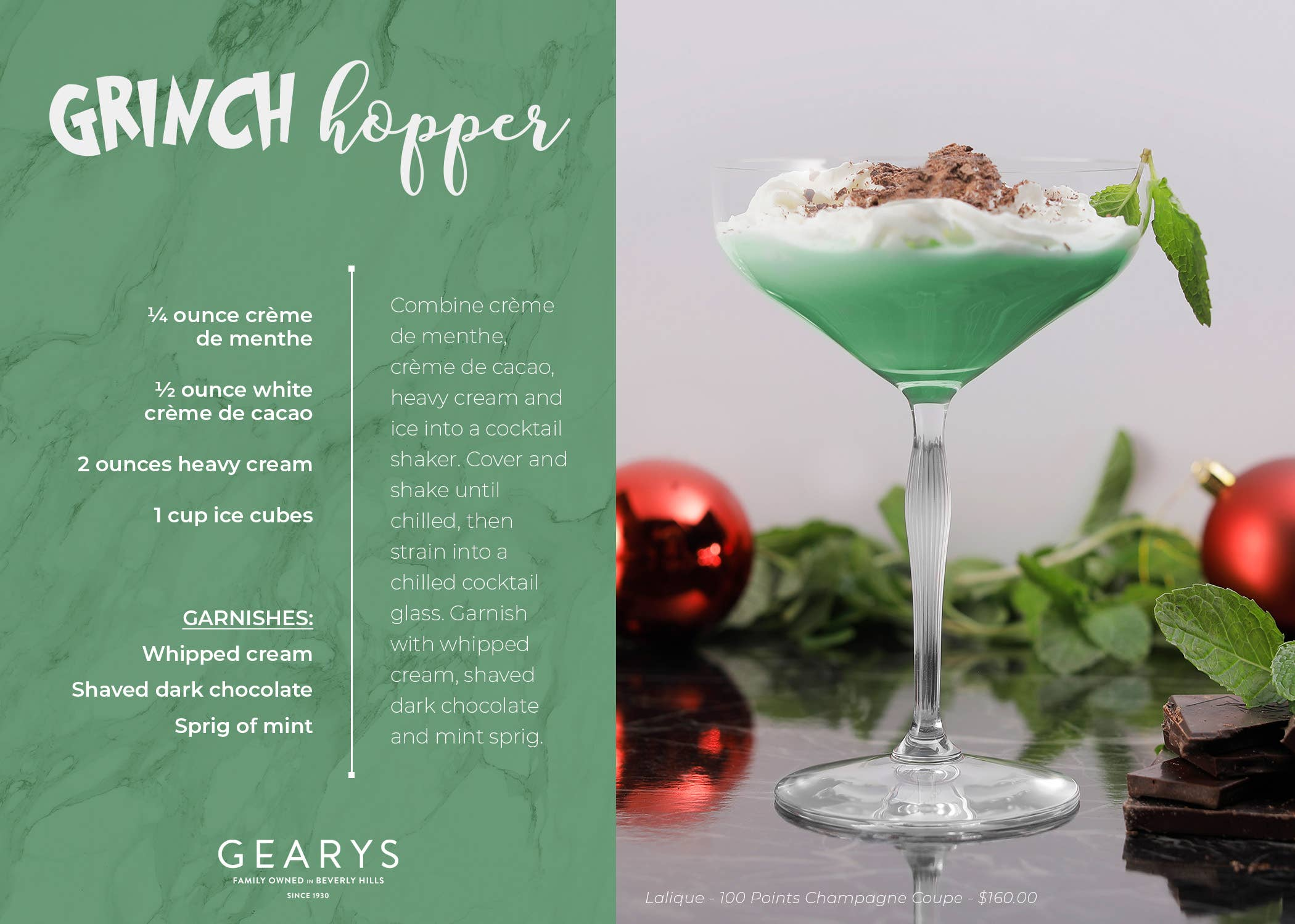 The Grinch Hopper cocktail recipe card