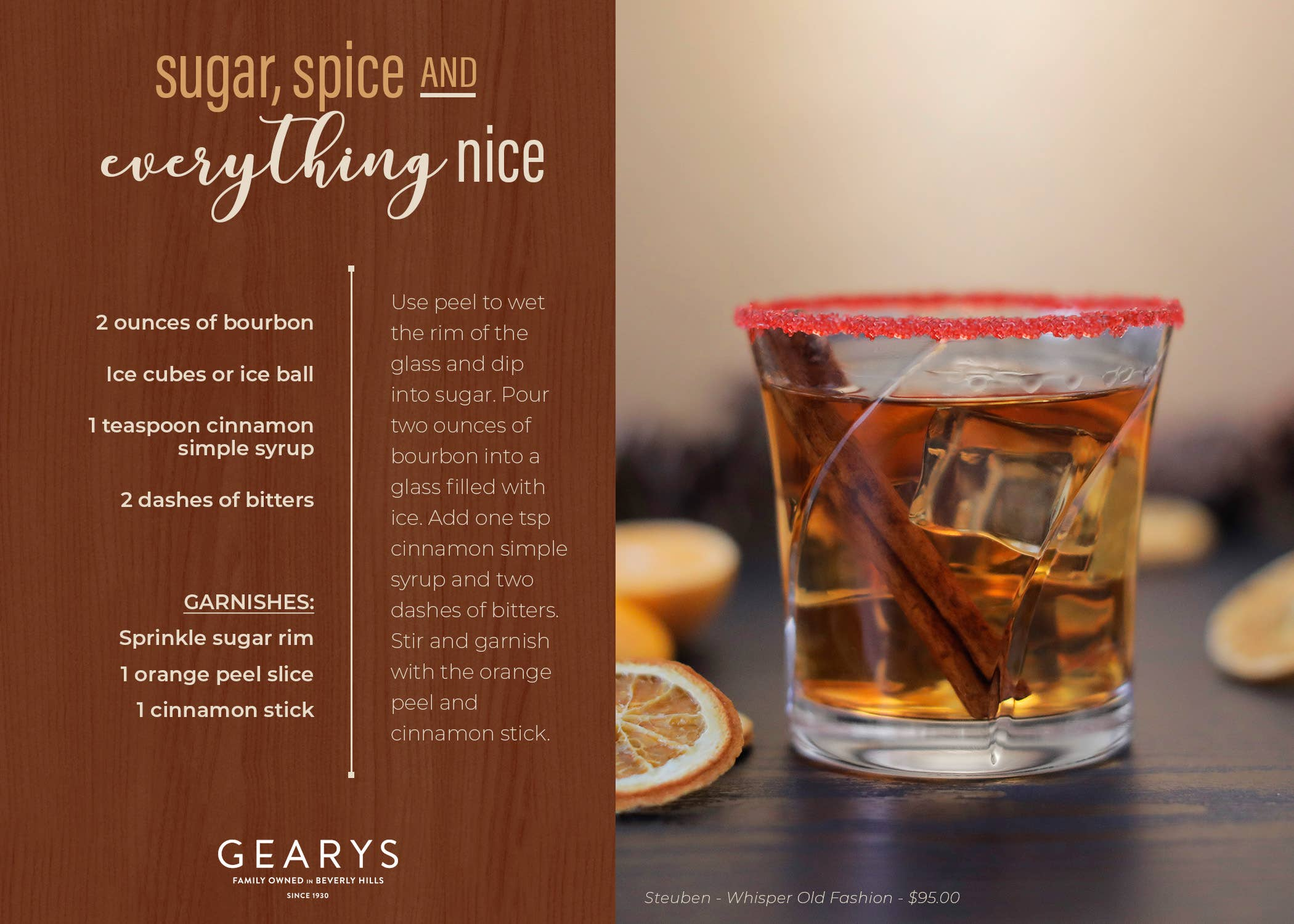 The Sugar, Spice & Everything Nice cocktail recipe card