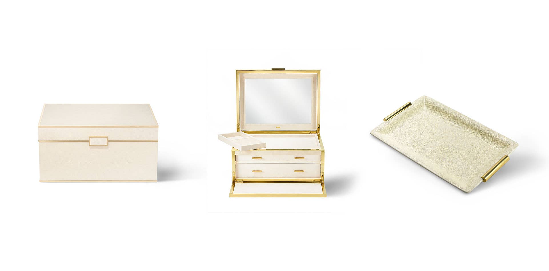 AERIN Shagreen Jewelry Box & Vanity Tray