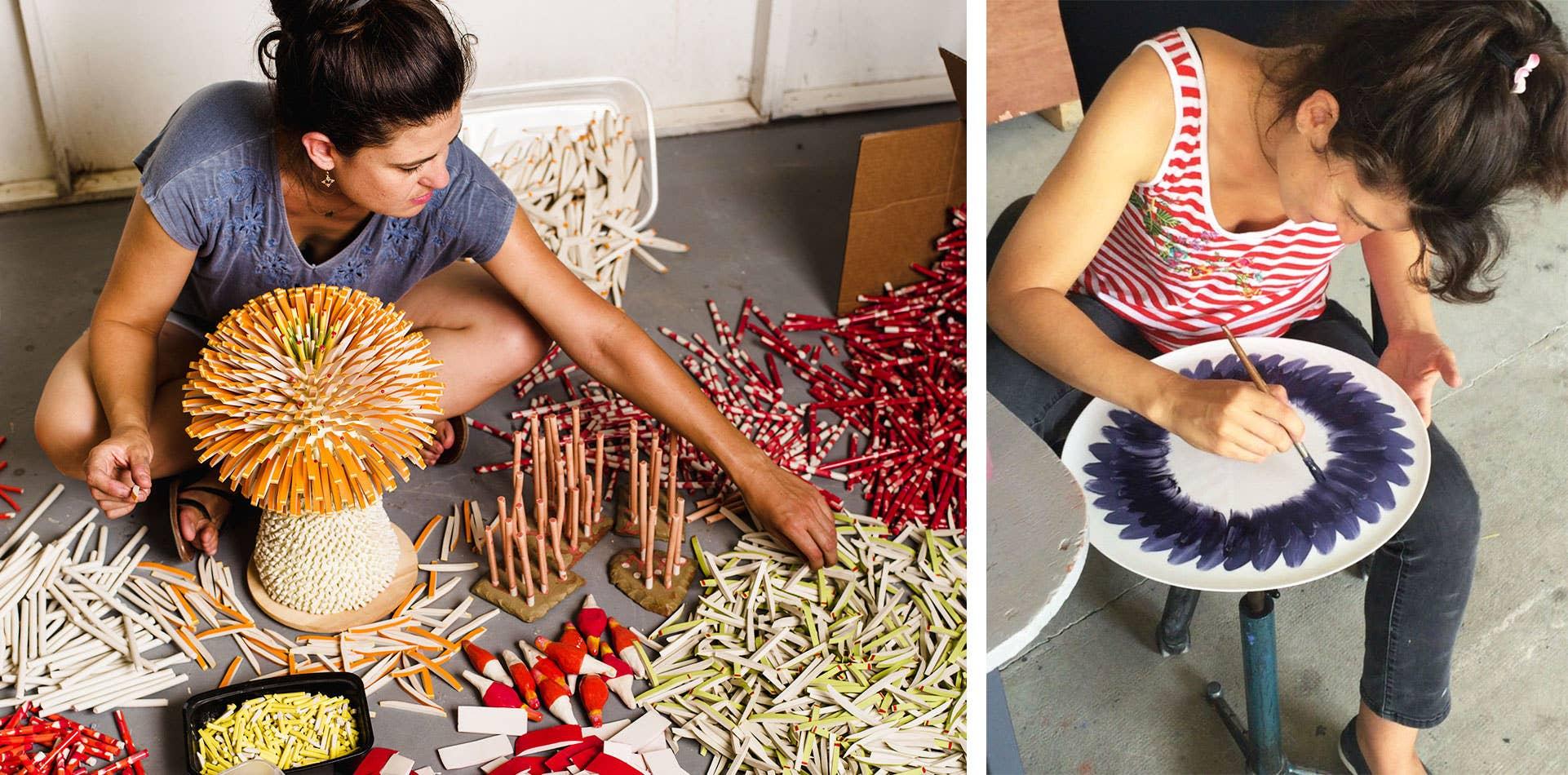 Zemer Peled working in her studio
