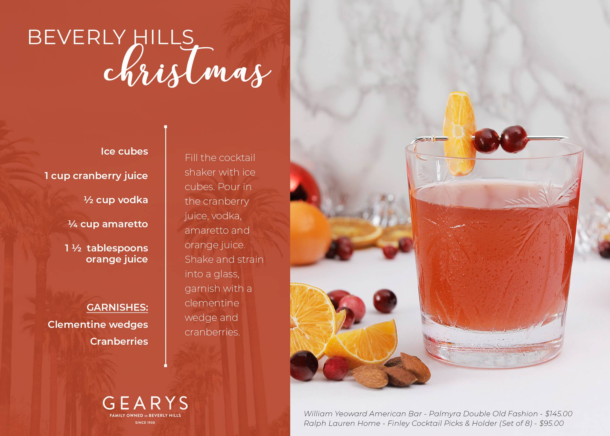 The Beverly Hills Christmas cocktail recipe card