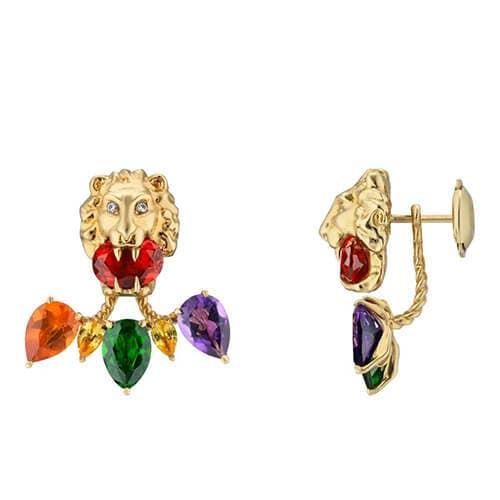 Gucci lionhead jacket earrings