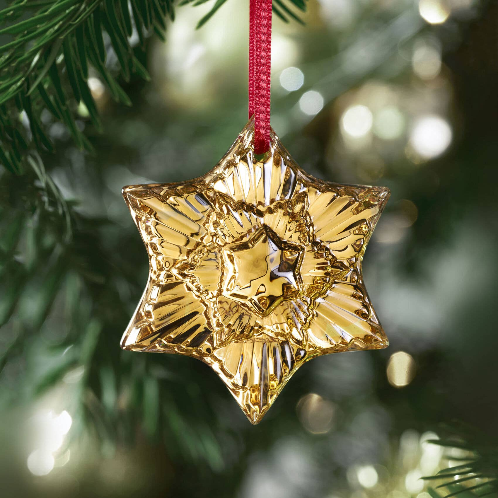 Baccarat 2020 Crystal Ornament in gold