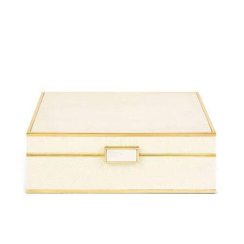 Aerin classic shagreen jewelry box in cream