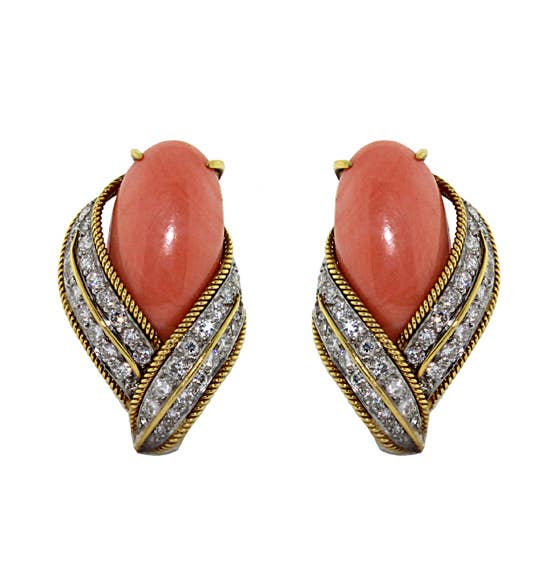 David Webb Coral and Diamond Ear Clips