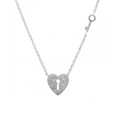 Diamond heart keyhole necklace