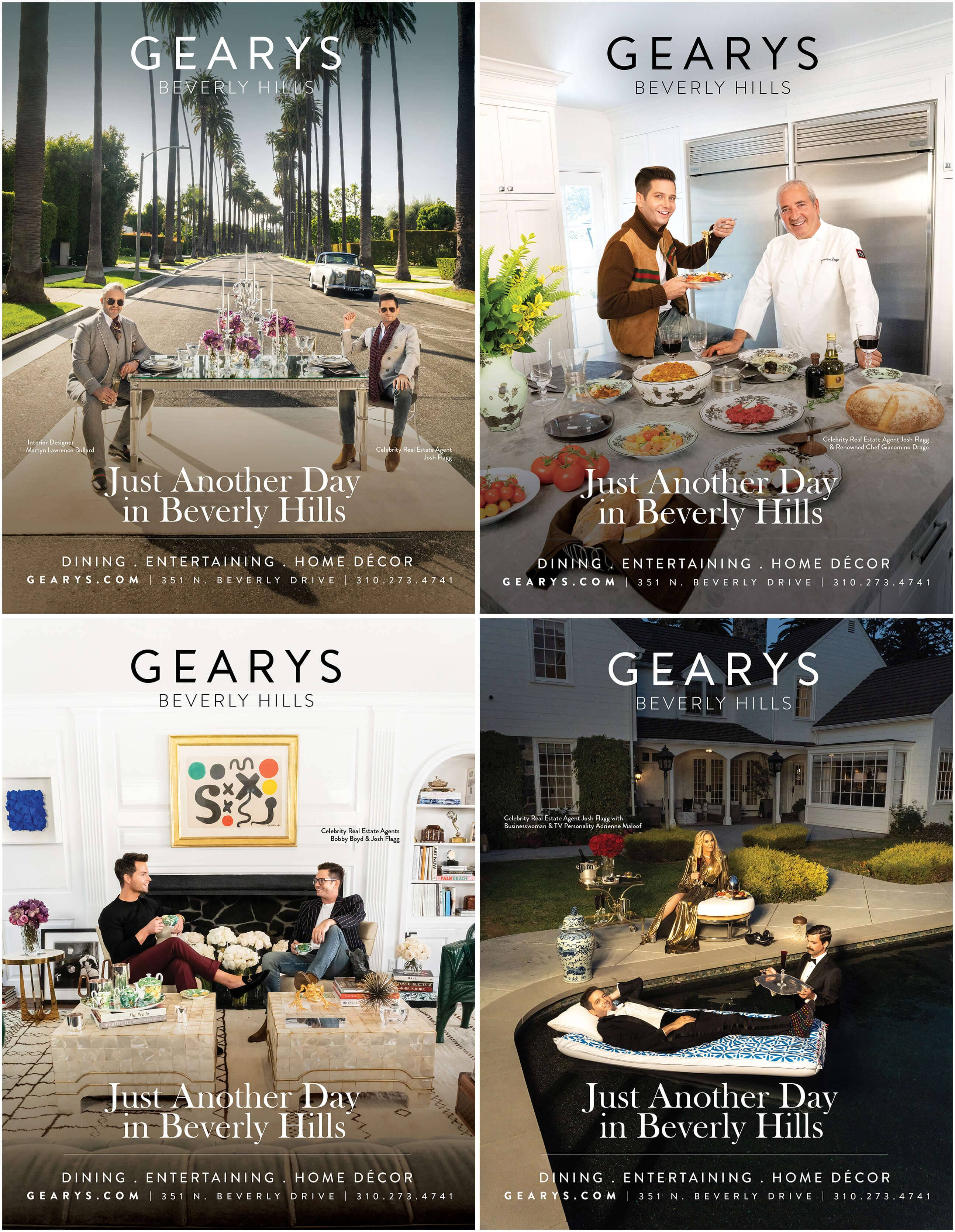 Architectural Digest Ads for GEARYS Just Another Day in Beverly Hills campaign
