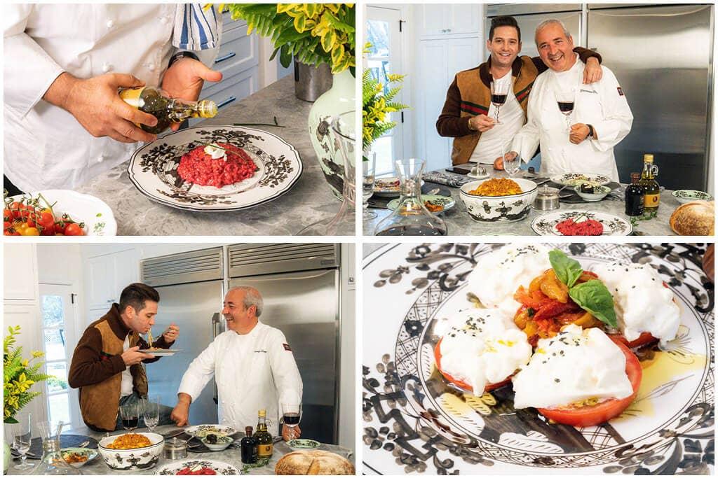 Josh Flagg and Chef Giacomino Drago in the kitchen