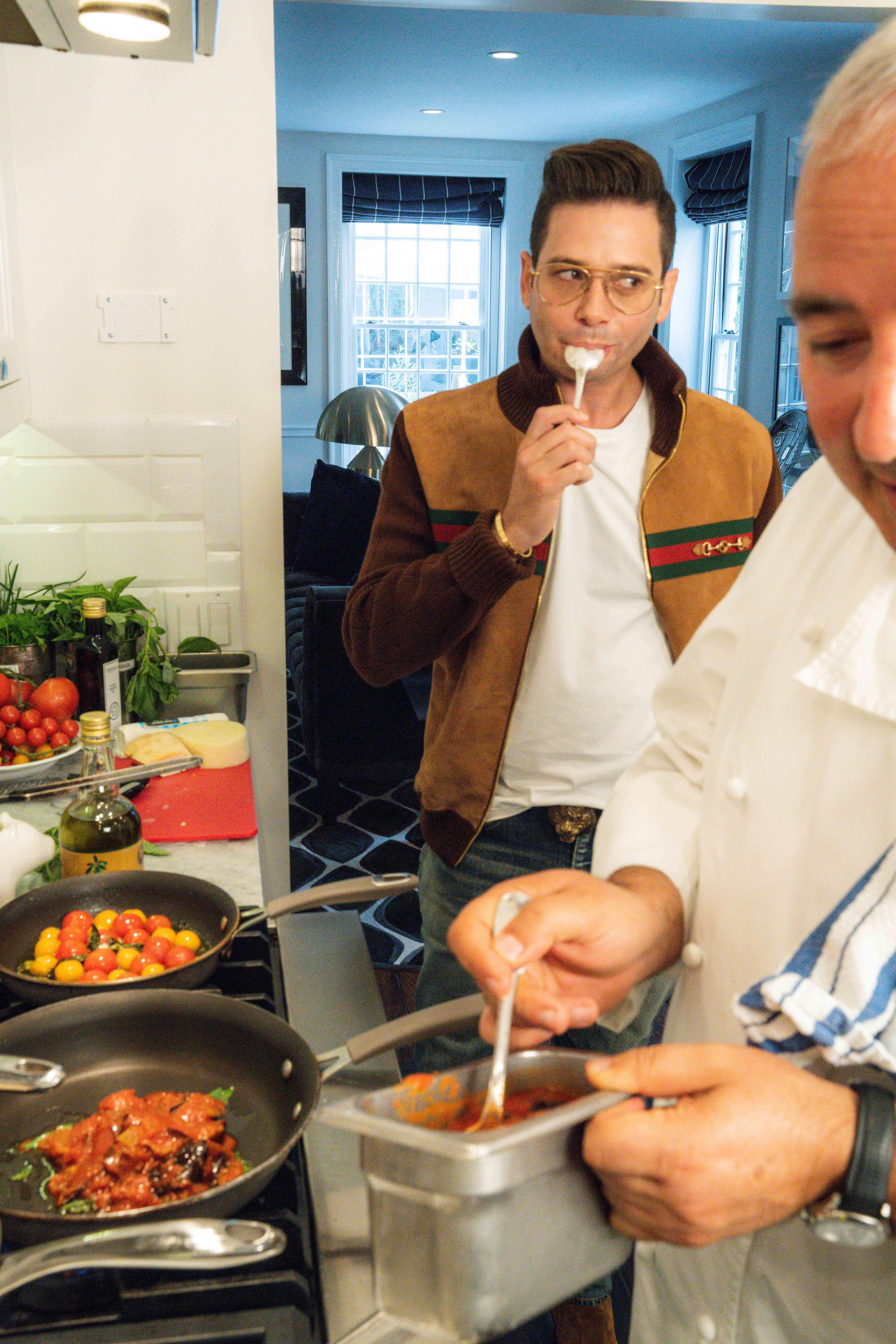 Josh Flagg and Chef Giacomino Drago in kitchen