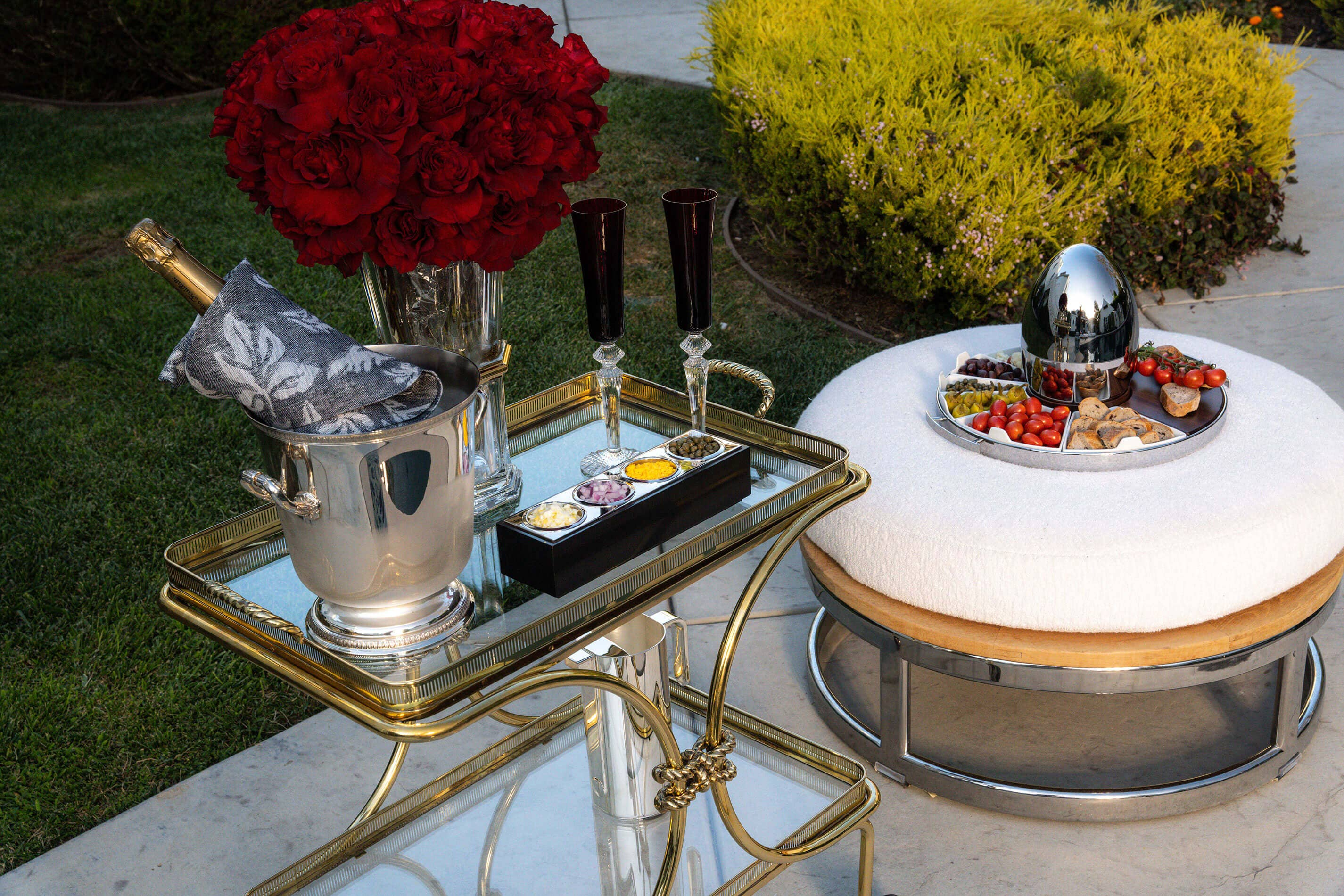 Caviar set up by the pool
