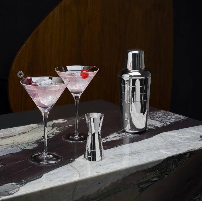 Christofle Graphik Bar Set with pink cocktail