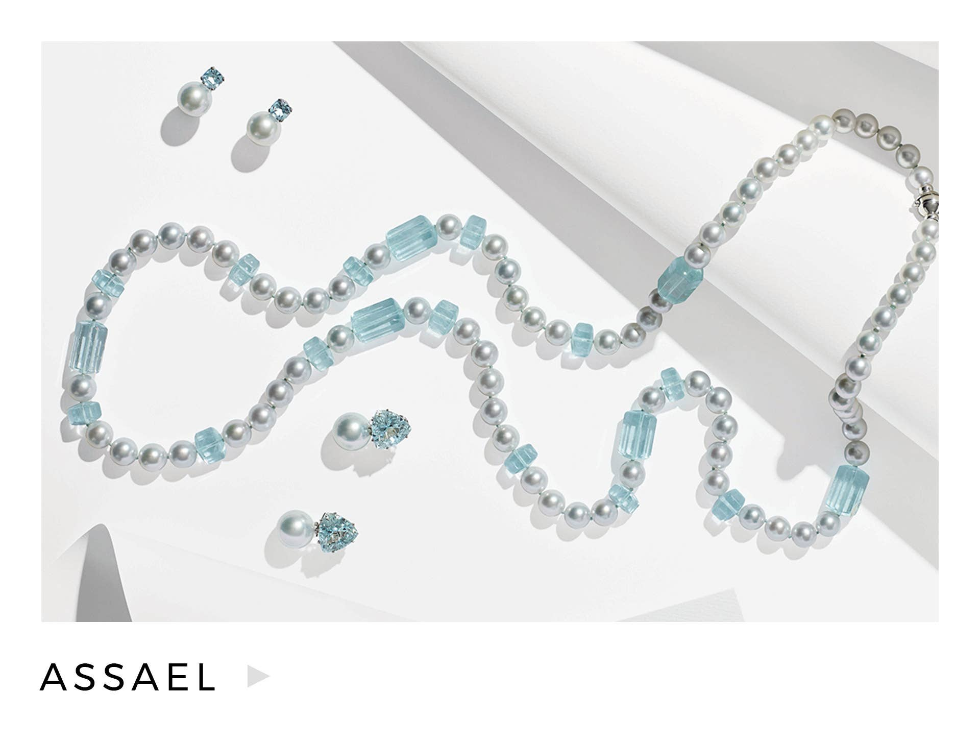 Shop our collection of Assael jewelry, including the featured pearl & aquamarine necklace.