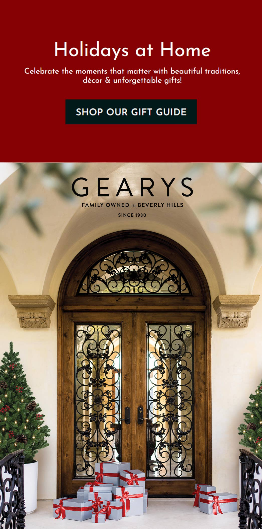 2020 GEARYS Gift Guide cover: wrought iron doors with holiday gift boxes