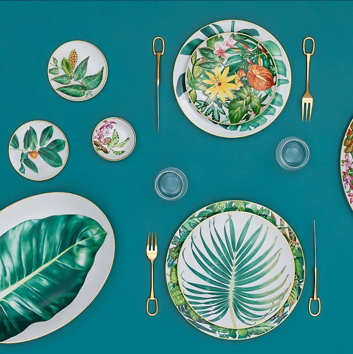 Floral themed place setting from Hermès Passifolia collection
