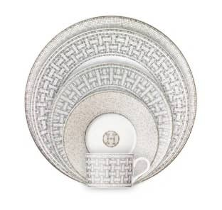 Art Déco mosaic inspired place setting from Hermès Mosaique Platinum collection