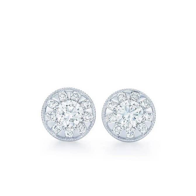 Kwiat Diamond Pave Disc Stud Earrings