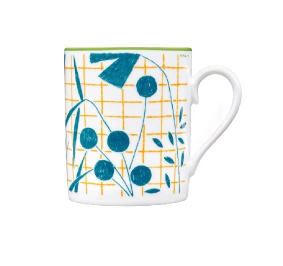Latticed, chequered and chevron motif mug from Hermès A Walk in the Garden collection