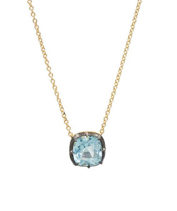 Fred Leighton Cushion Shape Blue Topaz Collet Pendant