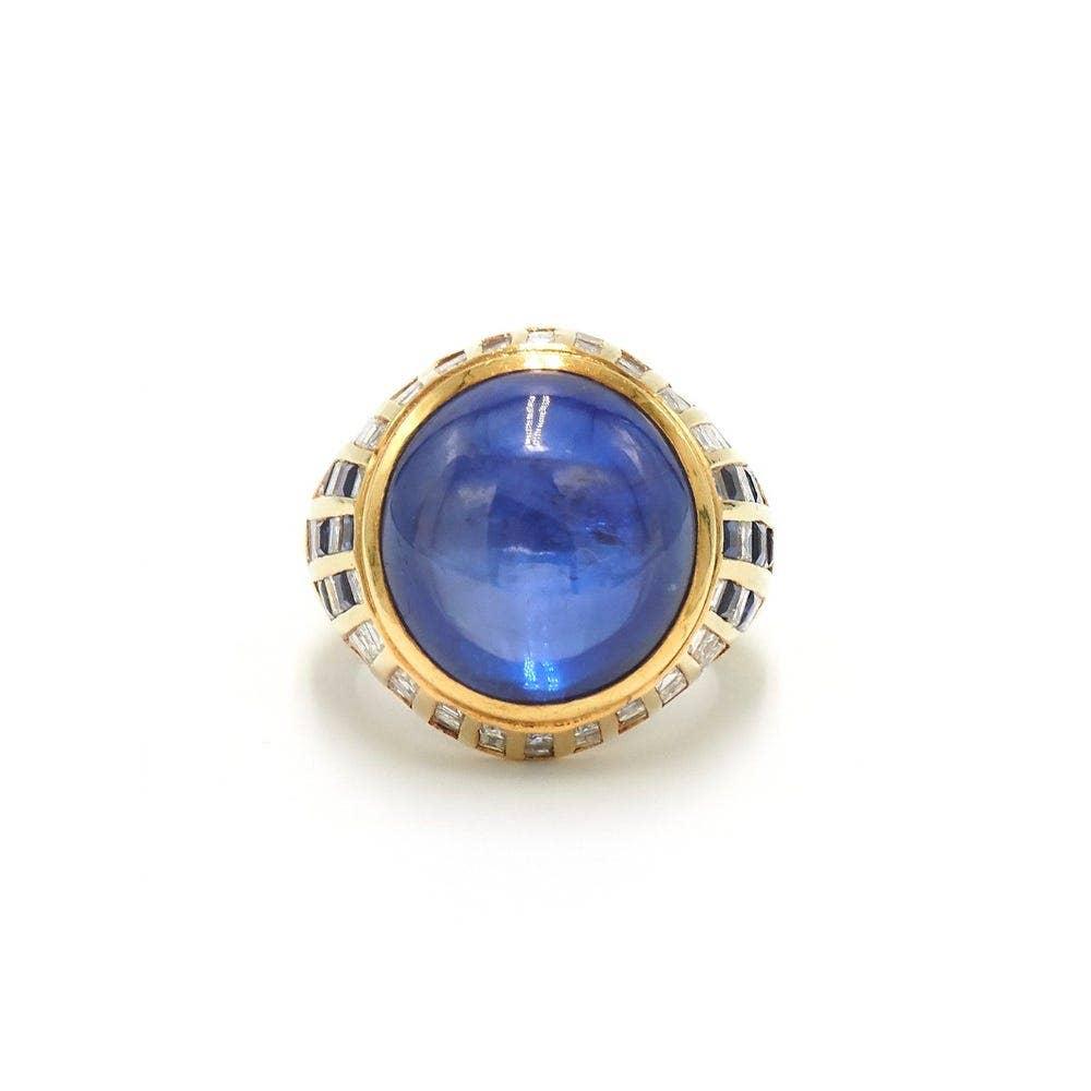Fred Leighton 18K Cabochon Ceylon Sapphire and Diamond Ring