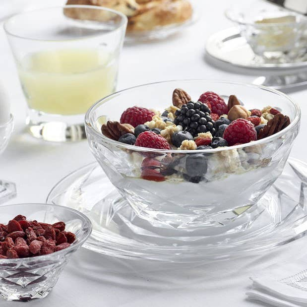 Baccarat faceted-cut Swing collection at breakfast table