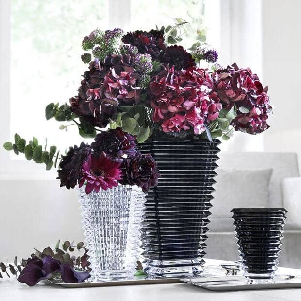 Baccarat Reflections Collection with black eye rectangular and round vases